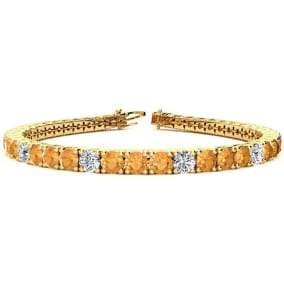 9 3/4 Carat Citrine and Diamond Graduated Tennis Bracelet In 14 Karat Yellow Gold Available In 6-9 Inch Lengths