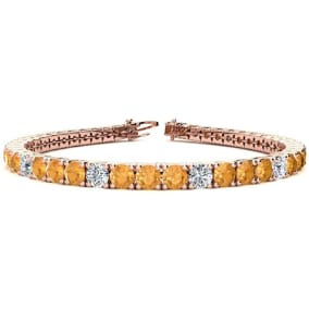 9 3/4 Carat Citrine and Diamond Graduated Tennis Bracelet In 14 Karat Rose Gold Available In 6-9 Inch Lengths