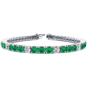 11 2/3 Carat Emerald and Diamond Graduated Tennis Bracelet In 14 Karat White Gold Available In 6-9 Inch Lengths