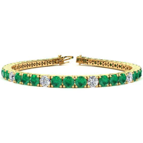 11 2/3 Carat Emerald and Diamond Graduated Tennis Bracelet In 14 Karat Yellow Gold Available In 6-9 Inch Lengths