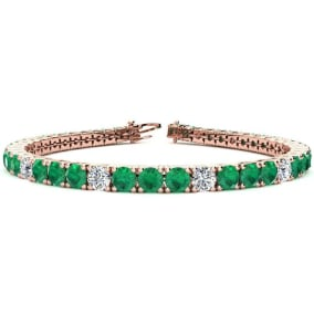 11 2/3 Carat Emerald and Diamond Graduated Tennis Bracelet In 14 Karat Rose Gold Available In 6-9 Inch Lengths