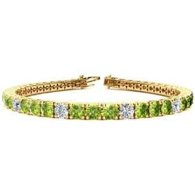 9 3/4 Carat Peridot and Diamond Graduated Tennis Bracelet In 14 Karat Yellow Gold Available In 6-9 Inch Lengths