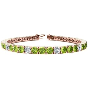 9 3/4 Carat Peridot and Diamond Graduated Tennis Bracelet In 14 Karat Rose Gold Available In 6-9 Inch Lengths