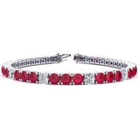 12 1/3 Carat Ruby and Diamond Graduated Tennis Bracelet In 14 Karat White Gold Available In 6-9 Inch Lengths