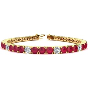12 1/3 Carat Ruby and Diamond Graduated Tennis Bracelet In 14 Karat Yellow Gold Available In 6-9 Inch Lengths