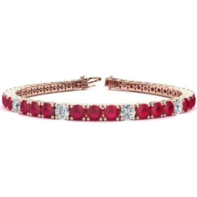 12 1/3 Carat Ruby and Diamond Graduated Tennis Bracelet In 14 Karat Rose Gold Available In 6-9 Inch Lengths