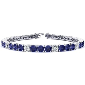 9 1/2 Carat Tanzanite and Diamond Graduated Tennis Bracelet In 14 Karat White Gold Available In 6-9 Inch Lengths