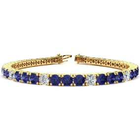 9 1/2 Carat Tanzanite and Diamond Graduated Tennis Bracelet In 14 Karat Yellow Gold Available In 6-9 Inch Lengths