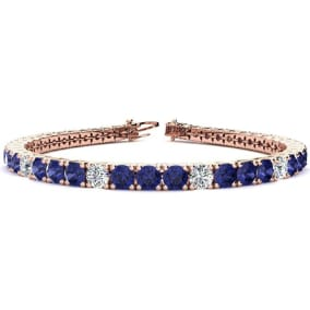 9 1/2 Carat Tanzanite and Diamond Graduated Tennis Bracelet In 14 Karat Rose Gold Available In 6-9 Inch Lengths