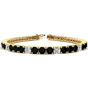 9 3/4 Carat Black and White Diamond Graduated Tennis Bracelet In 14 Karat Yellow Gold Available In 6-9 Inch Lengths