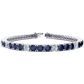 12 3/4 Carat Sapphire and Diamond Graduated Tennis Bracelet In 14 Karat White Gold Available In 6-9 Inch Lengths