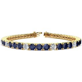12 3/4 Carat Sapphire and Diamond Graduated Tennis Bracelet In 14 Karat Yellow Gold Available In 6-9 Inch Lengths