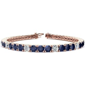 12 3/4 Carat Sapphire and Diamond Graduated Tennis Bracelet In 14 Karat Rose Gold Available In 6-9 Inch Lengths