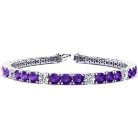 9 3/4 Carat Amethyst and Diamond Graduated Tennis Bracelet In 14 Karat White Gold Available In 6-9 Inch Lengths