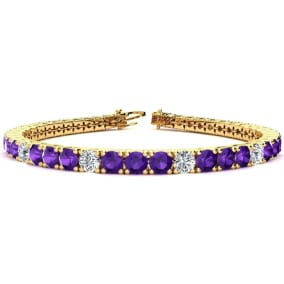 9 3/4 Carat Amethyst and Diamond Graduated Tennis Bracelet In 14 Karat Yellow Gold Available In 6-9 Inch Lengths