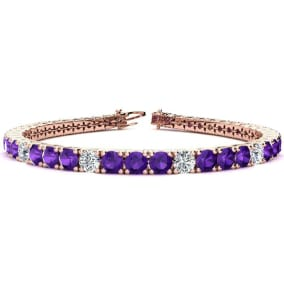 9 3/4 Carat Amethyst and Diamond Graduated Tennis Bracelet In 14K Rose Gold Available In 6-9 Inch Lengths