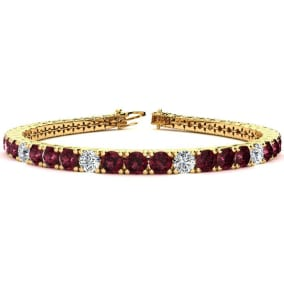 10 1/2 Carat Garnet and Diamond Graduated Tennis Bracelet In 14K Yellow Gold Available In 6-9 Inch Lengths