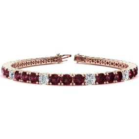 10 1/2 Carat Garnet and Diamond Graduated Tennis Bracelet In 14K Rose Gold Available In 6-9 Inch Lengths