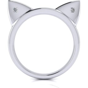 Diamond Accent Cat Ears Ring In White Gold Over Sterling Silver