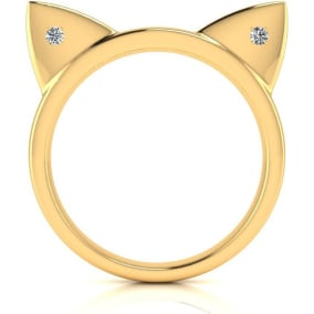 Diamond Accent Cat Ears Ring In Yellow Gold Over Sterling Silver