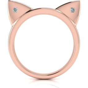 Diamond Accent Cat Ears Ring In Rose Gold Over Sterling Silver