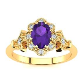 3/4 Carat Oval Shape Amethyst and Halo Diamond Vintage Ring In 14 Karat Yellow Gold