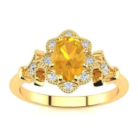 1 Carat Oval Shape Citrine and Halo Diamond Vintage Ring In 14 Karat Yellow Gold