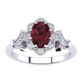 1 Carat Oval Shape Garnet and Halo Diamond Vintage Ring In 14 Karat White Gold