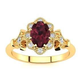 1 Carat Oval Shape Garnet and Halo Diamond Vintage Ring In 14 Karat Yellow Gold