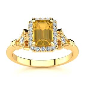 1 Carat Citrine and Halo Diamond Vintage Ring In 14 Karat Yellow Gold