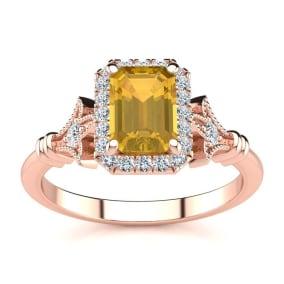 1 Carat Citrine and Halo Diamond Vintage Ring In 14 Karat Rose Gold