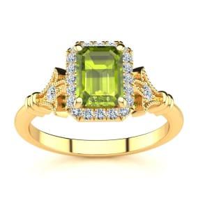 1 1/2 Carat Peridot and Halo Diamond Vintage Ring In 14 Karat Yellow Gold