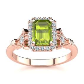 1 1/2 Carat Peridot and Halo Diamond Vintage Ring In 14 Karat Rose Gold