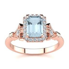 1 Carat Aquamarine and Halo Diamond Vintage Ring In 14 Karat Rose Gold