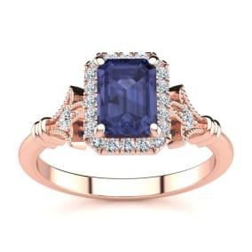 1 1/2 Carat Tanzanite and Halo Diamond Vintage Ring In 14 Karat Rose Gold