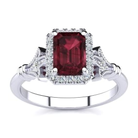 1 1/2 Carat Garnet and Halo Diamond Vintage Ring In 14 Karat White Gold