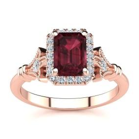 1 1/2 Carat Garnet and Halo Diamond Vintage Ring In 14 Karat Rose Gold