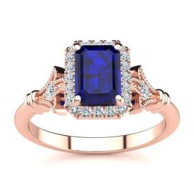 1 1/2 Carat Sapphire and Halo Diamond Vintage Ring In 14 Karat Rose Gold