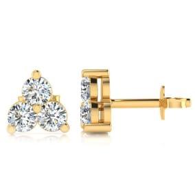 1/4ct Three Diamond Triangle Stud Earrings In 14K Yellow Gold