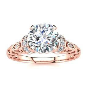 1 1/4 Carat Vintage Diamond Engagement Ring In 14 Karat Rose Gold