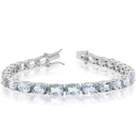 20 Carat Aquamarine Bracelet In Sterling Silver, 7 Inches