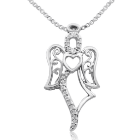 Diamond Accent Angel Heart Necklace, 18 Inches. Beautiful and Perfect For The Valentines!