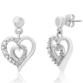 Diamond Accent Heart Dangle Earrings