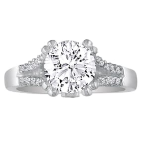Hansa 2/3ct Diamond Round Engagement Ring in 14k White Gold, H-I,SI2/ I1, Available Ring Sizes 4-8.