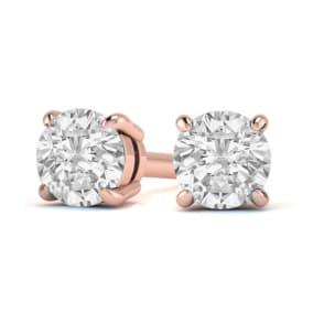 1 1/4 Carat Diamond Stud Earrings In 14 Karat Rose Gold