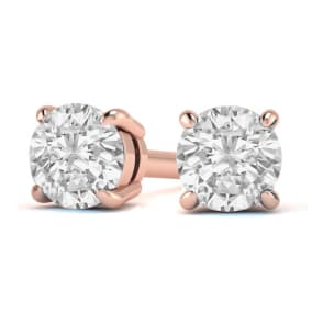 1 1/2 Carat Diamond Stud Earrings In 14 Karat Rose Gold