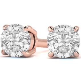 1 3/4 Carat Round Diamond Stud Earrings In 14 Karat Rose Gold