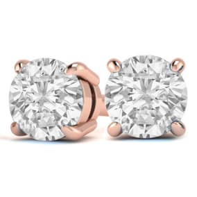 2 Carat Diamond Stud Earrings In 14 Karat Rose Gold
