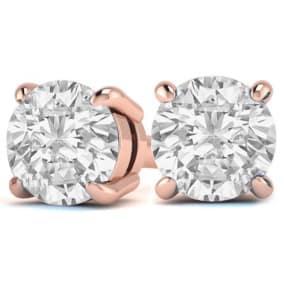 3 Carat Diamond Stud Earrings In 14 Karat Rose Gold
