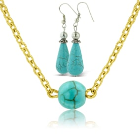 Trendy Turquoise Teardrop Earrings With Free Turquoise Necklace